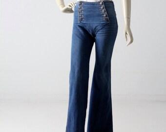 1970s Chemin de Fer jeans, vintage button front sailor jeans,