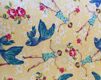 What Would Poseidon Say in yellow, Neptune & the Mermaid collection by Tokyo Milk for Freespirit, 1/2 yd