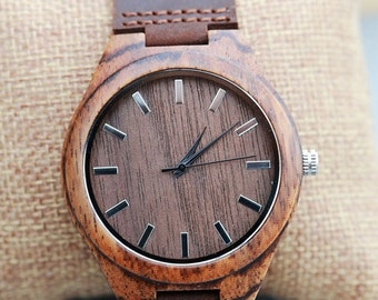 ON SALE Personalized Brown Wooden Watch, Groomsmen Gifts,Wood Watch, engraved with personal text - Gift for Him/Her, Anniversary, Wedding gi