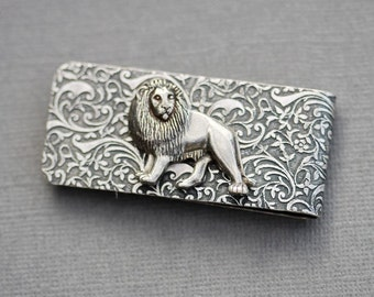 Lion Money Clip  Steampunk Money Clip Silver Plated Men's Accessories Antique Style  Men's Gifts,Groomsmen Wedding Gifts, Anniversary Gifts