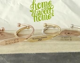Personalized Engraved Bracelet - Engraved Bracelet Bridesmaid Gift Bridal Gift Bracelet ,Custom gift, Custom Jewelry, Coordinates Jewelry