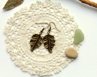 Earrings leaves old gold colour nature lovers