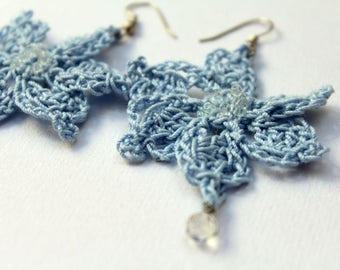 Crochet Flowers earrings spring light blue
