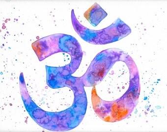 Ohm Watercolor Print, Ohm Symbol, Ohm Watercolor, Watercolor Ohm, Ohm Painting, Ohm Print, Ohm