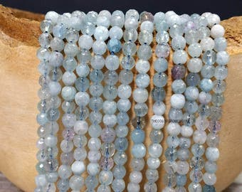 4.5 to 5 mm. Natural Aquamarine Stone Faceted Round Beads - Natural Color - March Birth Stone -No Dyed Heated or Treated (MJ00400NW45-BH)