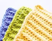 Crochet Dishcloths - 3 Bright, Cotton Ribbed Cloths