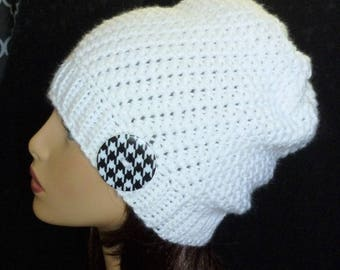 Crochet Slouch Hat, Reversible Beanie, Slouchy, Slouch Hat, Winter Fashion, Slouchy, Slouch Beanie - White with Hounds tooth Button