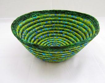 Beach Glass Forest Coiled Fabric Bowl blue green batik