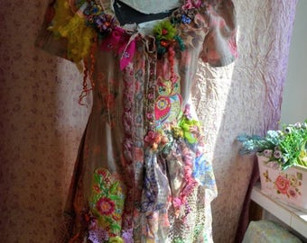 off Beautiful reworked dress bohemian gypsy wearable art art to wear dress altered couture dress upcycled dress embroidered