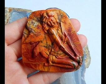 Carved Multi-Color Picasso Jasper Gemstone Pendant Bead,Craved Angel Pendant,53x52x9mm,36.6g(b0766)