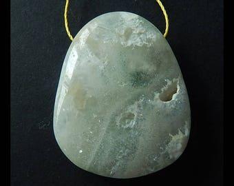 Natural Ocean Jasper Pendant Bead,Healing Stone ,35x29x10mm,16.2g(e0206)