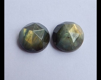 Labradorite Faceted Gemstone Cabochon Pair,18x10mm,8.9g