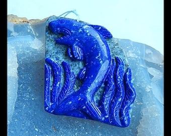 Carved Lapis Lazuli Shark Gemstone Pendant Bead,66x45x7mm,25.94g