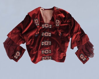 RESERVED Edwardian Blouse / Early 1920s Maroon Velvet Beaded and Embroidered Blouse / AMAZING 1910s 20s