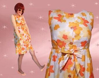 60s Mod Sundress - 1960s Vintage Summer Dress - Flower Power - XS Nalii of Honolulu Swimsuit Cover