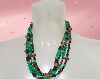 MultiStrand Necklace - One of a Kind - Handmade Multi Strand- Green Black Copper