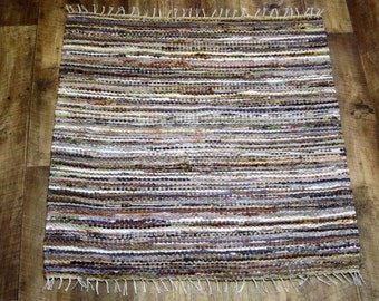 Hand woven rag rug 3.05 feet by 3.18 feet(94cm x 98cm)  colors light beige, beige, brown, ready for sale