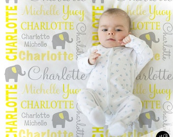 Elephant Name Blanket in yellow and gray for boy or girl, personalized baby gift, blanket, baby blanket, personalized blanket, choose colors