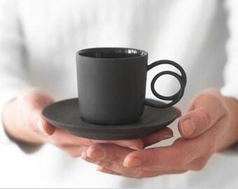 Wire Handle espresso cup black