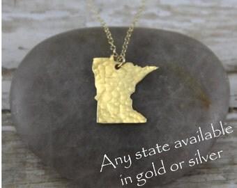 Gold Minnesota Necklace - Gold Minnesota State Necklace - Gold Minnesota Pendant - Going Away Gift - Bridesmaid Gift