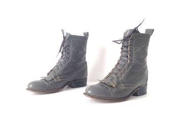 womens size 7 Justin style grey LEATHER combat GRUNGE fringe boots