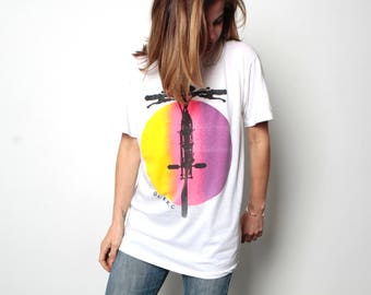 vintage QUEBEC biking cycling rainbow painted WHITE t-shirt top slouchy thin soft 90s racing touring shirt