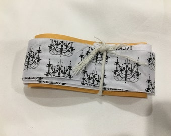Black and White Ribbon, Chandelier Print Ribbon