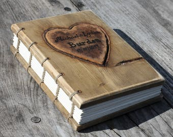Wedding guest book Rustic wood journal personalised with leather hearts Coptic stitched Wood Anniverasry gift