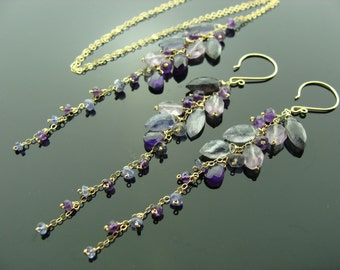 Amethyst Iolite Tanzanite Cascade 14K Gold Filled Gemstone Earrings and Necklace Set