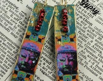 Zen Inspired Op Art Buddha Image Dangle Earring Handcrafted Urban Gypsy Earring