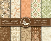 40% off More Flourish Paper Pack - 10 Printable Digital papers - 12 x12 - 300 DPI