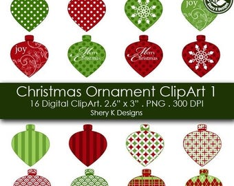 40% off Christmas Ornament Clip Art - 16 Digital clip art -2.6x3 - 300 DPI