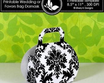 40% off Printable wedding or party favors bag damask