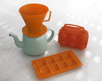 Vintage kitchen retro Orange collection ,Coffee dripper , Drip O Lator ,  egg Carrier Egg Basket Egg Crate Egg Holder, Ice cube mold