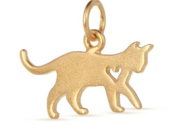 Charm Cat Silhouette W/ Heart Cut-Out 24Kt Gold Plated Sterling Silver 13.5x17.5mm - 1 pc Wholesale Price (11171)/1