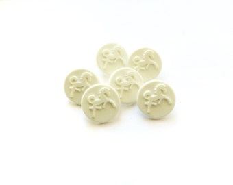 6 White Horse Buttons, Antique French Buttons
