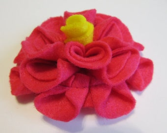 Add a Felt Flower with yellow center to any Sleep Mask or Neck Wrap- Dark Pink