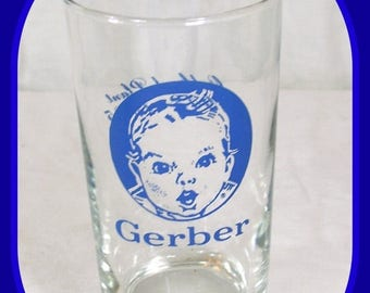 ON SALE Vintage Gerber Baby Food Advertising Glass for Employees Celebrating Oakland Plant 1943-1985