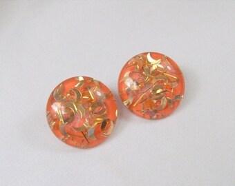 ON SALE Vintage Lucite Earrings Orange Gold Confetti Glitter Crescent Clip On
