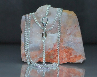 Finished 2mm Chain Necklace Bright Silver Plated with Lobster Clasp - Choose Length
