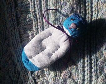 Lavender Filled Sachet Sock Doll OOAK  White and Blue w\Blue Hat Purple Heart Nose English Lavender Lavandula 'Provence'