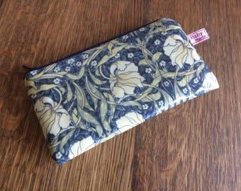 William Morris Pimpernel (blue) oilcloth glasses case zipped pouch