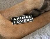 ANIMAL LOVER Enamel Pin Lapel Pin Hard Enamel Pin Pin Game Pingame black and gold flair animal pin pet parent animal