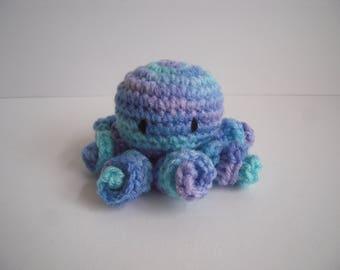 Crocheted Stuffed Amigurumi Mini Baby Octopus Variegated Blues and Purple