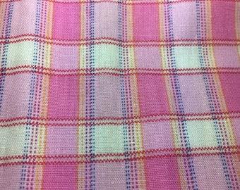 3 large pieces pink cotton woven plaid