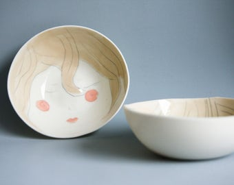 illustarted face bowl, dish set for breakfast, bowls and plates set, translucent porcelain dishes, modern ceramics handmade in Ireland