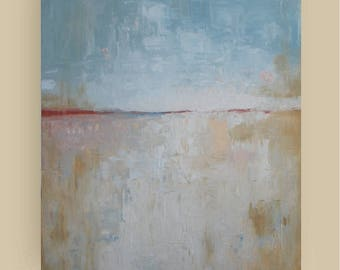 "Art Original acrylic painting abstract painting neutral colors painting abstract landscape cream blue beige  large canvas 24""x30"" FREE SHIPP"