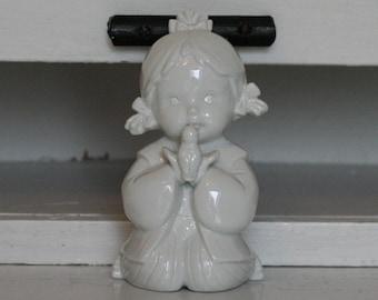 Vintage HINA MATSURI GIRL Kissing Bird White Glazed Ceramic  Pottery Japan Japanese Girl Meditation Prayer Gift Wishes Flower Festival