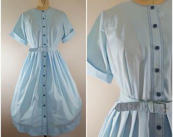 Vintage 1950s Dress / Baby Blue Cotton Shirtwaist / Medium Large
