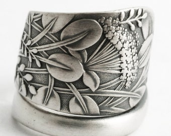 "Queen Anne's Lace Flower, Sterling Silver Spoon Ring, Antique Whiting Pattern of 1885 ""Hagie"" Handmade Gift for Her, Custom Ring Size (6585)"